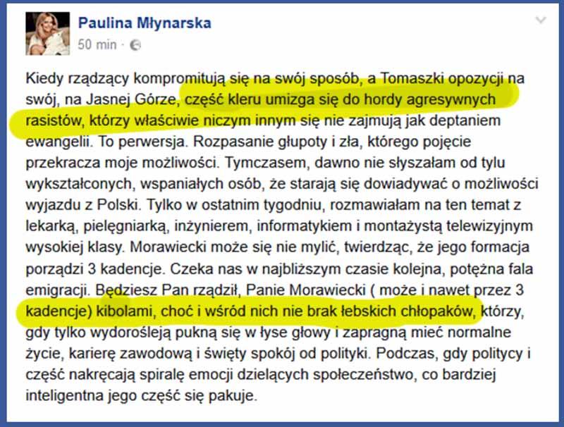 Paulina Młynarska komentuje