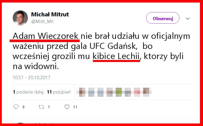 Kibole Lechii Gdańsk odwołali walkę UFC!